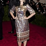 In 2013, Katy wore Dolce & Gabbana for the Met Gala theme Punk: Chaos to Couture.