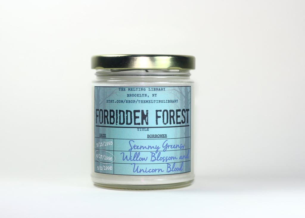 Forbidden Forest candle ($12) with stemmy greens, willow blossom, vanilla, and amber notes