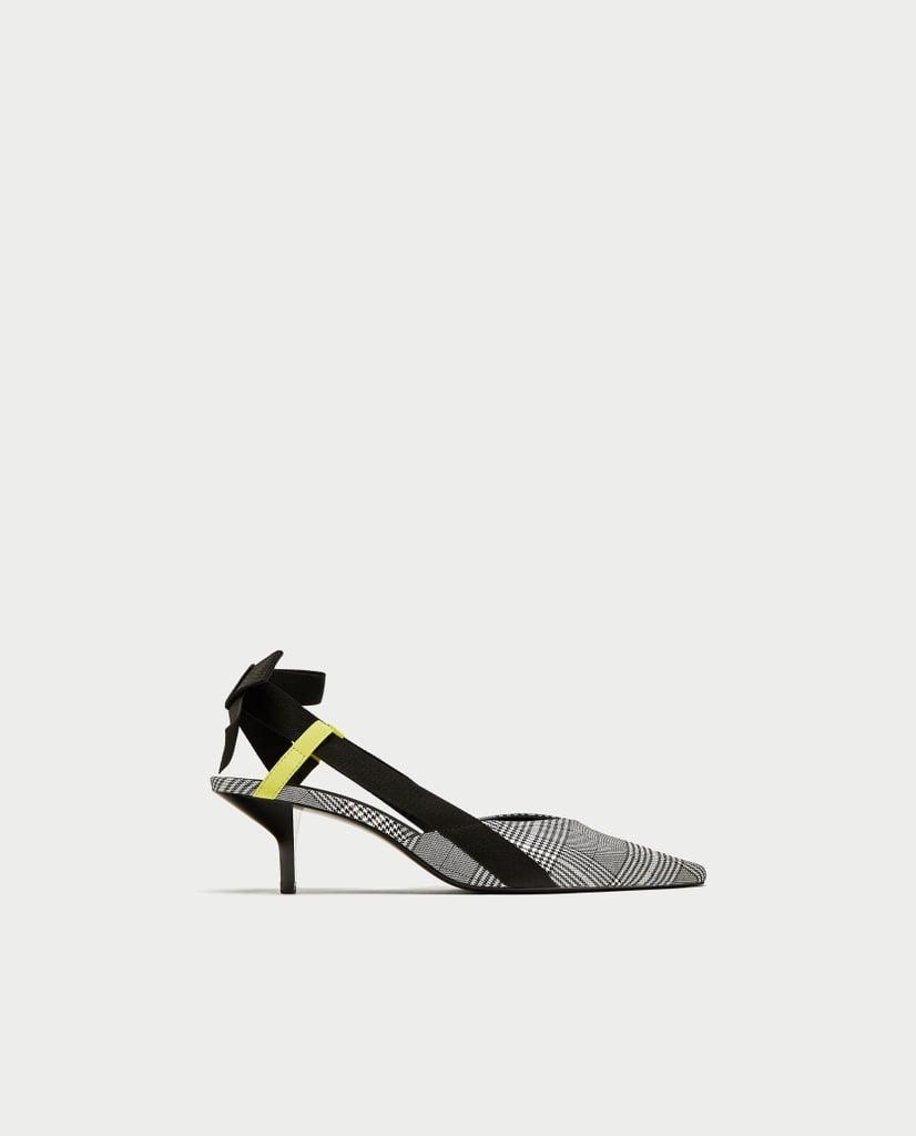 2c6d6d8192b Zara Checked High Heel Slingback Shoes