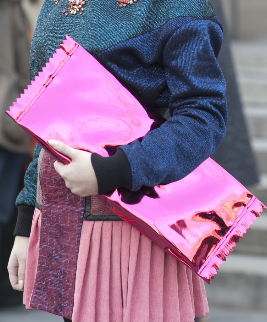 We can't get enough of this kitschy hot-pink candy clutch from the Margiela For H&M collection.