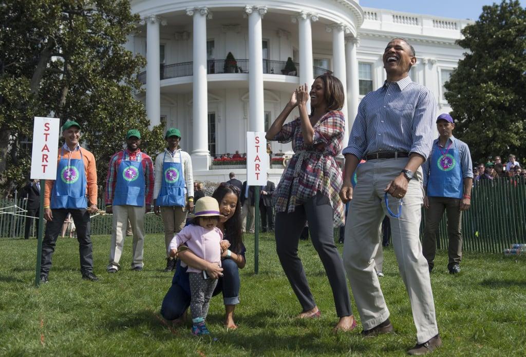 The Obamas just kept cracking up.