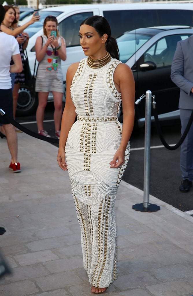 She wore this white braided dress at Cannes in 2014.
