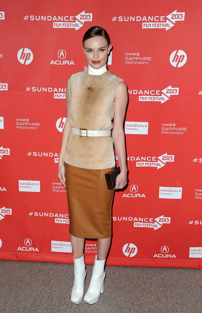 Kate Bosworth went mod in a Calvin Klein look comprising a sleeveless shearling top, a vinyl pencil skirt, and white boots at the Big Sur premiere during the 2013 Sundance Film Festival.