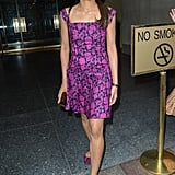 Freida Pinto opted for a bold fuchsia Tory Burch dress and matching Roger Vivier flats for a decidedly summery exit from the Today show.
