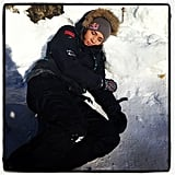 """Her rest time got a bit chillier when she made the switch from the Summer to Winter Olympics, and with a picture lying in the snow, she wrote, """"In track and field when I'm tired I would just go lay on the high jump pit. In bobsled I . . . """" Source: Instagram user lolojones"""