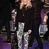 Edith Bowman wore patterned trousers with red heels.