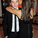 Brooklyn Beckham didn't seem fazed when his mom Victoria showed her affection for him at the Harper's Bazaar Women of the Year Awards.