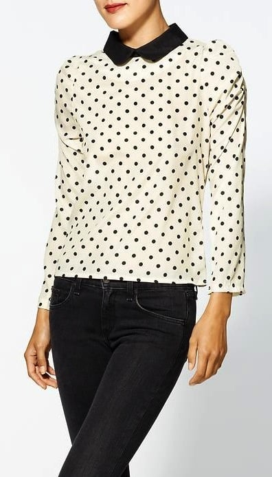 d.RA's polka-dot blouse ($55, originally $69) will undoubtedly give you a sweet retro vibe. We would especially like to see it with red trousers or a red skirt.