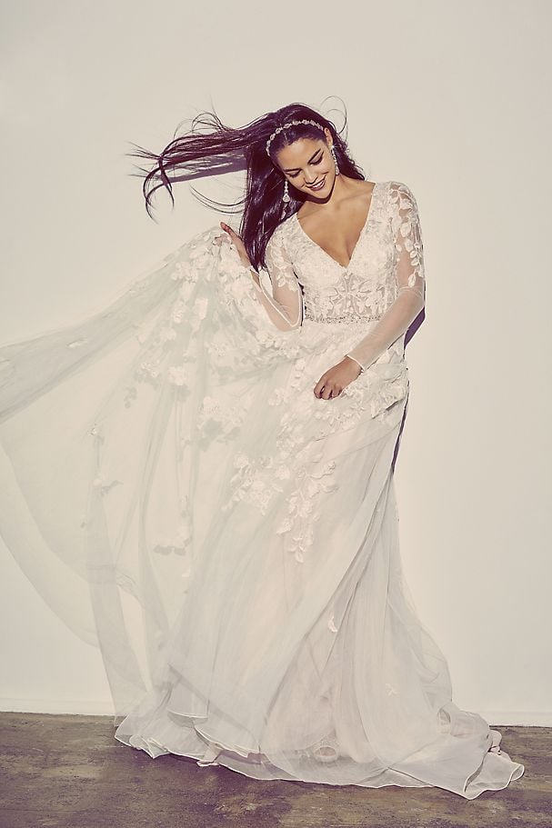 Illusion Sleeve Plunging Ball Gown Wedding Dress The Best Wedding Dresses Of 2020 Popsugar Fashion Australia Photo 4
