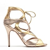 Monique Lhuillier Gold/Rose-Gold Combo Sandal ($895)
