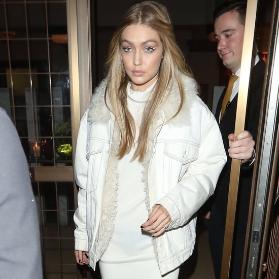 Gigi Hadid's White Shearling Boots