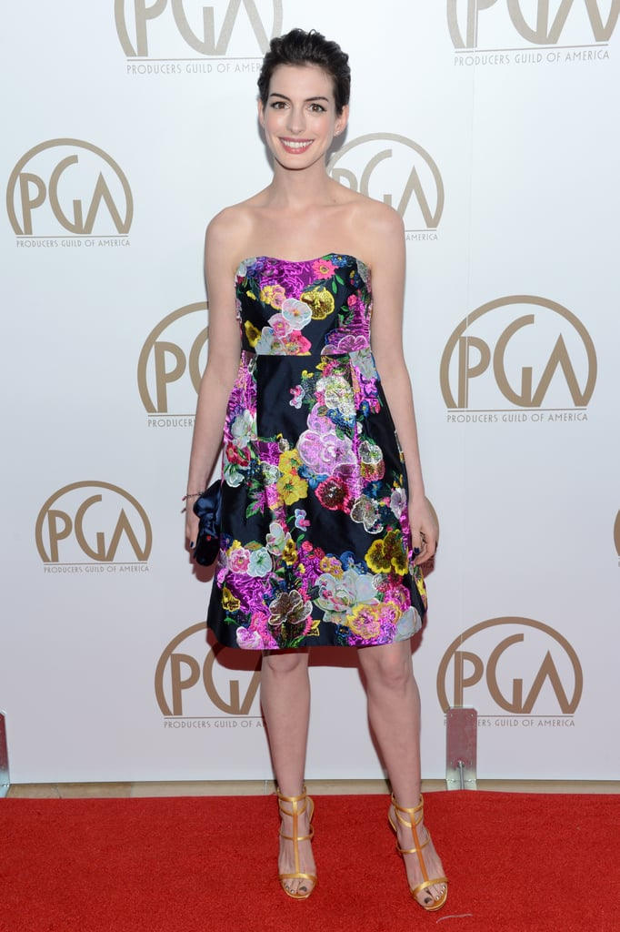Anne Hathaway wore a floral Erdem dress to the Producers Guild Awards.
