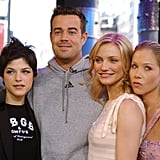 The Sweetest Thing costars Selma Blair, Cameron Diaz, and Christina Applegate snapped a picture with Carson Daly on TRL in 2002.