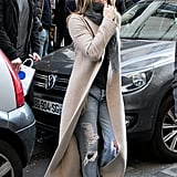 Jen's Ripped Boyfriend Jeans Balanced Out a Luxe Coat and White Sneakers