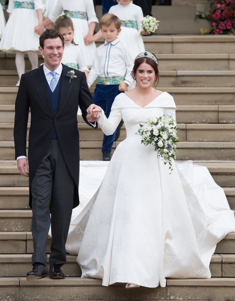 """Princess Eugenie gained a husband when she tied the knot with Jack Brooksbank on Oct. 12, but what about a new last name? Given that Eugenie is a royal and all, the marriage rules are a tad stricter. However, she still has the option of taking his last name if she wants to. According to royal historian Marlene Koenig, now that Eugenie and Jack are husband and wife, the royal can decide whether she still wants to be addressed as HRH Princess Eugenie or if she wants to be styled as HRH Princess Eugenie, Mrs. Jack Brooksbank. She also has the option of completely giving up her title and becoming Lady Eugenie.  Jack, on the other hand, did not receive a royal title like Meghan Markle did, and will remain Jack Brooksbank. """"There is no precedent for giving a peerage to the commoner husband of a princess on the wedding day,"""" Marlene added. Congrats to Eugenie and Jack!      Related:                                                                                                           Jack Brooksbank Will Not Wear a Wedding Ring, and Here's Why It's Actually Not a Big Deal"""