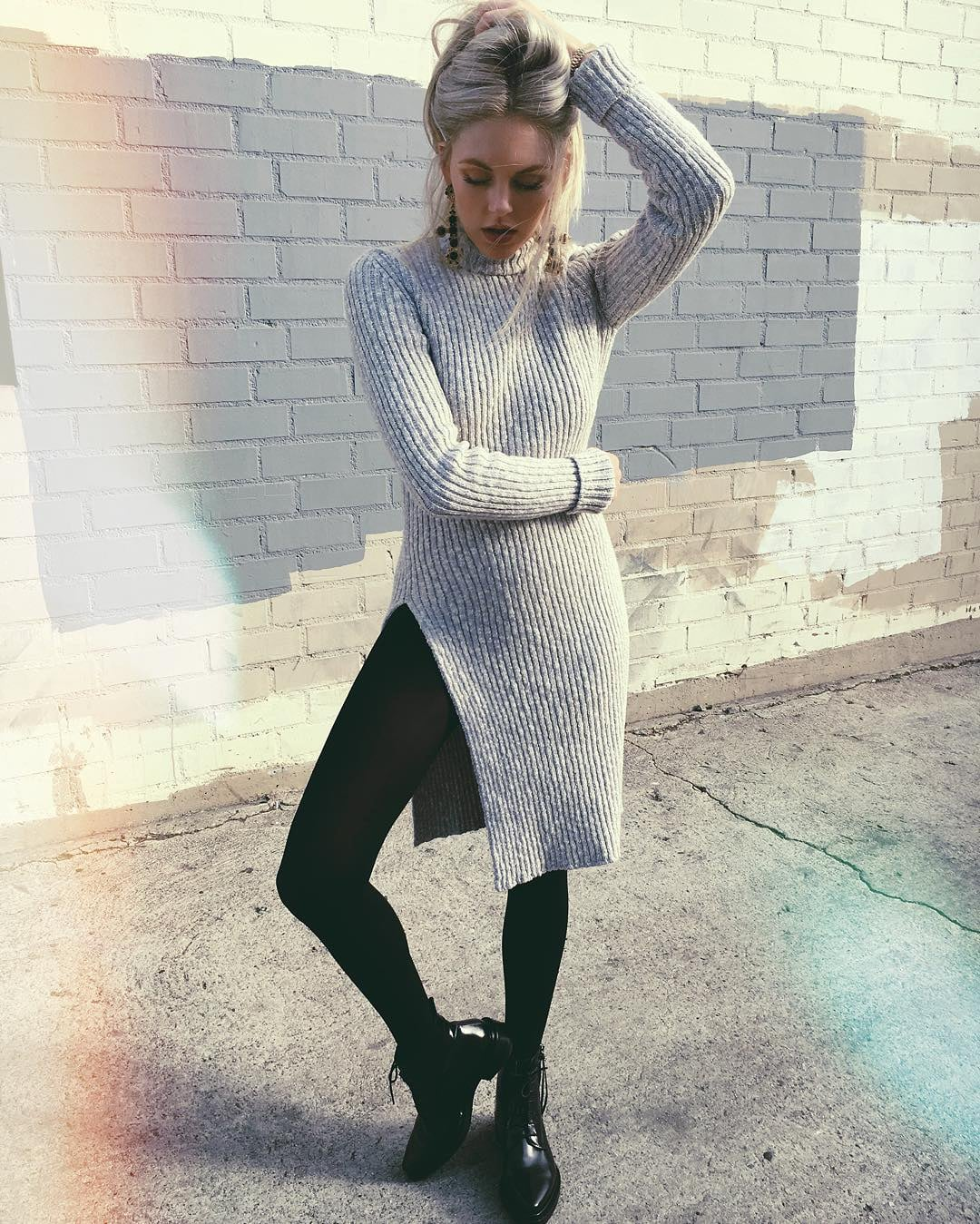 dress with tights and booties