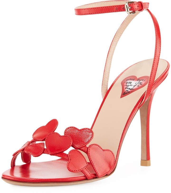 Valentino Heart Leather Ankle-Wrap Sandal