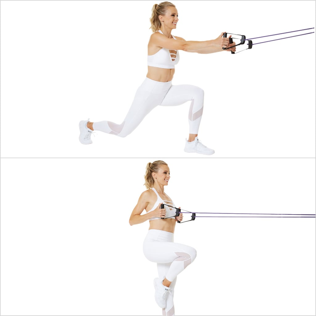 Lunge Rows to Passe With Resistance Band
