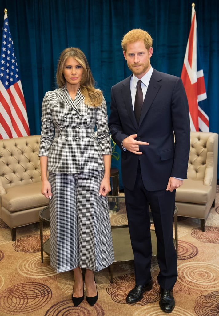 "Prince Harry met Melania Trump for the first time while attending the Invictus Games in Toronto on Saturday. His royal highness posed for photos with the first lady of the United States and sat down for a chat that lasted ""about 20 minutes."" Although both of their facial expressions are pretty unreadable in the photos, Melania reportedly extended an invite for Prince Harry to visit the White House anytime he's in the United States. Later that evening, the two were spotted sitting next to each other to watch the sporting events featuring veterans who were injured or wounded while serving in the military. See all the photos of their first encounter ahead.       Related:                                                                                                           Prince Harry and Meghan Markle Arrive Hand in Hand at the Invictus Games, and It's Royally Adorable"