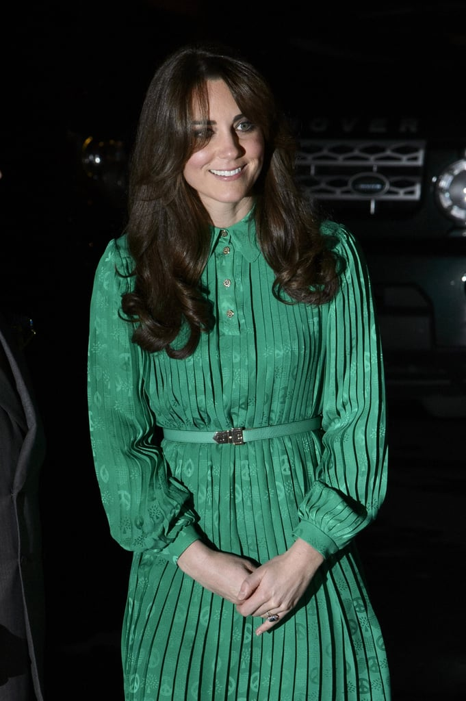 Kate Middleton wore a green dress in London.
