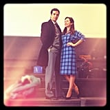 Autumn Reeser sported a '40s-inspired look on the set.  Source: Instagram user autumn_reeser