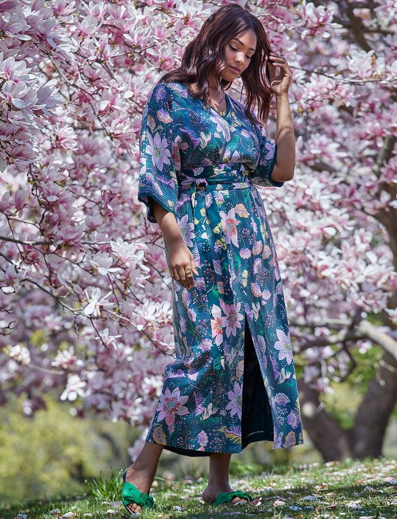52b95ed221e Eloquii Slit Front Printed Sequin Maxi Dress