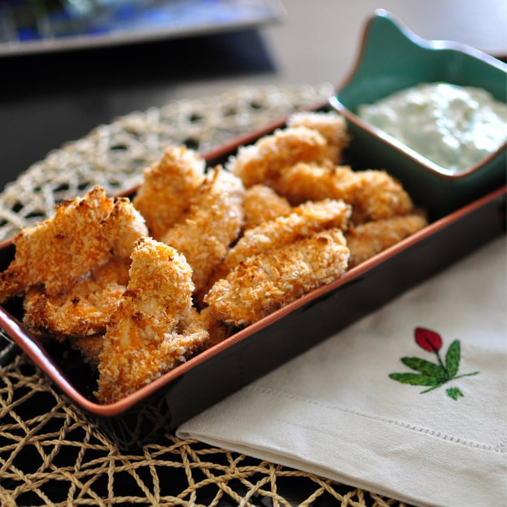 Baked Buffalo Chicken Strips with Blue Cheese Dip