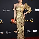 Wearing a gold Vivienne Westwood dress at the Descendants 2 premiere in July 2017.