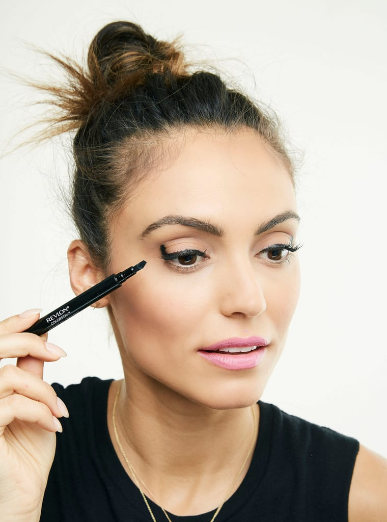 Create lines that are thin, medium, and thick all with one pen for a bold, fashion-forward style. Use the medium side to draw along the lash line and the thicker side to draw upward at the outer corner to the lash line.