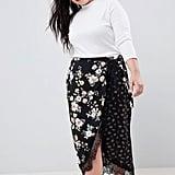 ASOS Curve Floral Wrap Skirt With Lace Trim