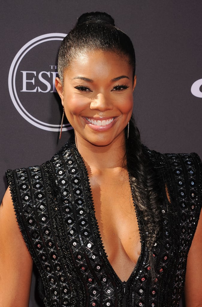 Gabrielle Union attended the ESPYs to support her boyfriend, Dwyane Wade, wearing a slicked-back ponytail that was twisted into an extra-long fishtail braid.