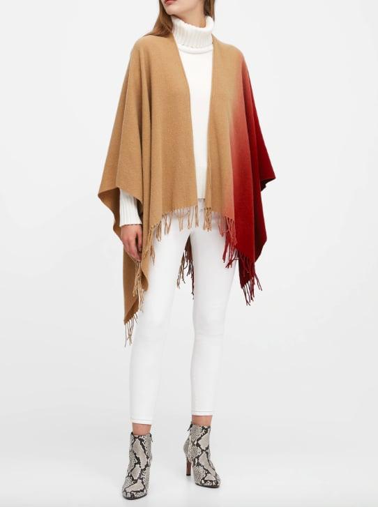 Ombré Wool-Blend Poncho