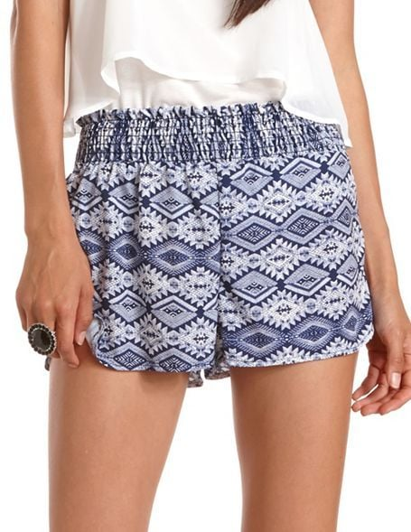Pack these Charlotte Russe tribal shorts ($20) with you on your next exotic escape. Wear them poolside and for a city stroll.