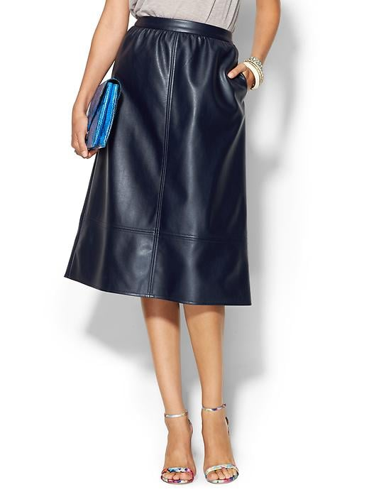 Piperlime Collection Leather Midi Skirt