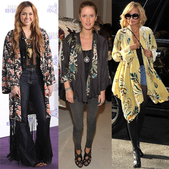 Nicole Richie, Nicky Hilton, and Miley Cyrus Wearing Kimono-Style Jackets