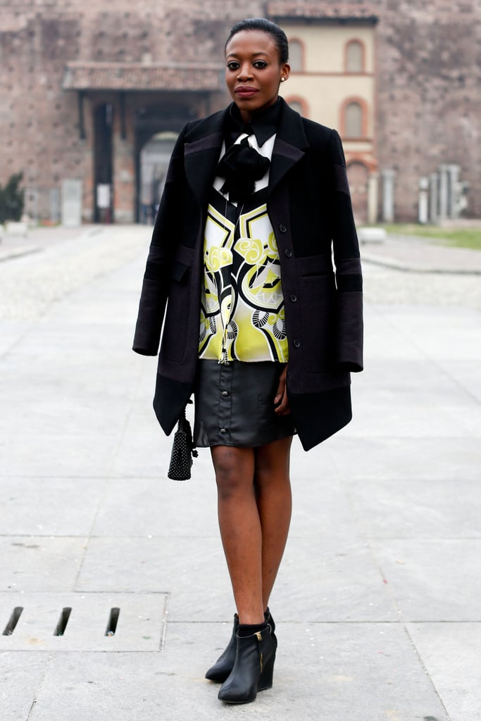 This show-goer worked her print in perfect proportion with striking black contrasts.