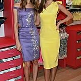 Miranda Kerr wore a yellow dress to link up with fellow Victoria's Secret angel Behati Prinsloo for the launch the brand's new Fabulous collection at the Victoria's Secret Herald Square store in NYC.