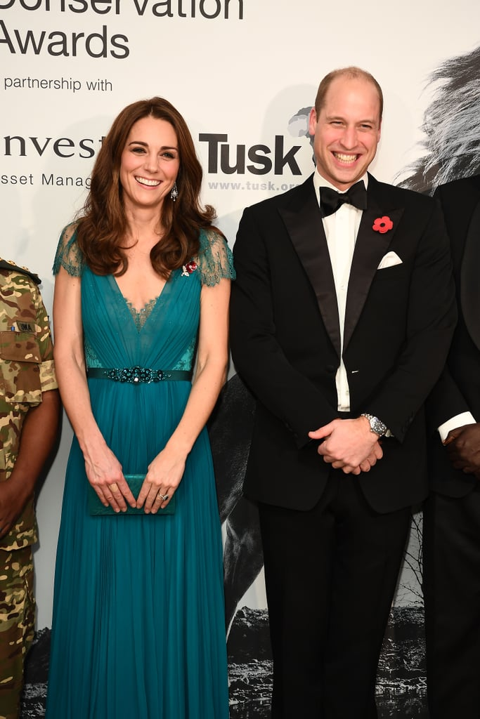 "It was date night for Prince William and Kate Middleton at the Tusk Conservation Awards in London on Thursday. William channeled James Bond in a fancy black tux, while Kate opted for a gorgeous turquoise Jenny Packham gown, which she first wore in 2012 for an Olympic concert at Royal Albert Hall. During the ceremony, the royals met with the nominees and supporters of the conservation charity, and William even took the stage for a speech.  The Tusk Trust is one of William's key charities, and he's been a royal patron since 2005. The organization likely holds a special place in William's heart as Princess Diana was a patron of the Chipangali Wildlife Orphanage, an organization similar to the Tusk Trust that rescues and cares for orphaned, abandoned, and sick wild animals. ""[My mother, Diana] would come back [from Africa] with all these stories and full of excitement and just passion for what she'd been doing,"" William said in a 2013 interview with CNN. ""I applaud her for all her dedication and drive in doing that. And it was that, I think, that infectious enthusiasm and the energy that she had that really rubbed off on me."" See photos from Will and Kate's glamorous night out ahead. Related: Why Prince William Wants Prince Charles to Spend More Time With His Grandkids"