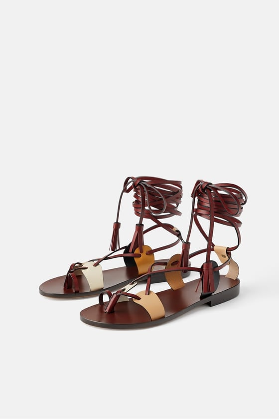 42e4a95742c Limited Edition Zara Studio Low-Heeled Strappy Leather Sandals