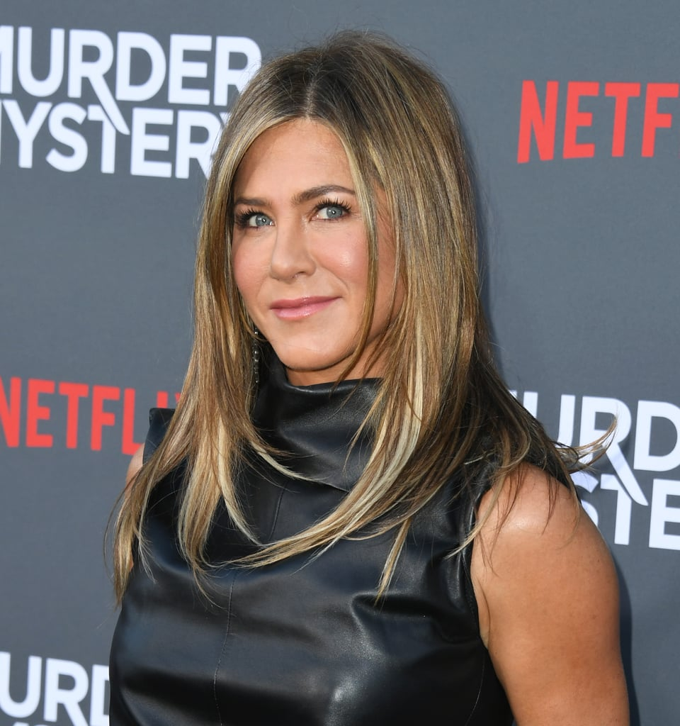 Jennifer Aniston Black Leather Dress Murder Mystery Premiere