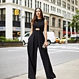 For the evening, Dana swapped out her carry-all for a studded clutch. It was the only accessory she needed — the cutout jumpsuit sans shirt spoke volumes. By baring a hint of skin, the resulting look was a touch sultry too.