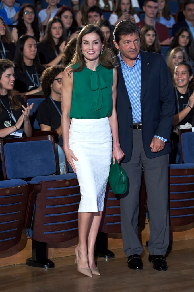 Queen Letizia Green Top and Clutch July 2017