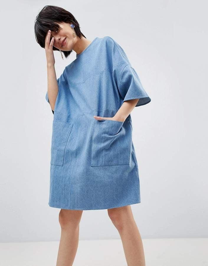 a0136b0020d Paisie Oversized Boxy Denim T-Shirt Dress