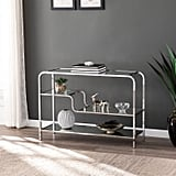 Geometric Stair-Step Silver Console Table