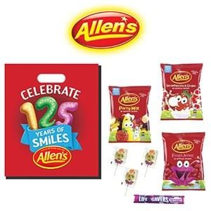 Allens Showbag ($10) Includes:  Strawberries and cream Lollies  Party mix lollies  Frogs alive lollies