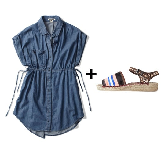 One of the cutest, easiest swimsuit cover-up solutions is a basic chambray dress. We love how this waist-tie piece looks with printed espadrilles. Get the look:  Quiksilver Love Maven Dress ($33, originally $78) Tsumori Chisato Espadrille Sandal ($168)