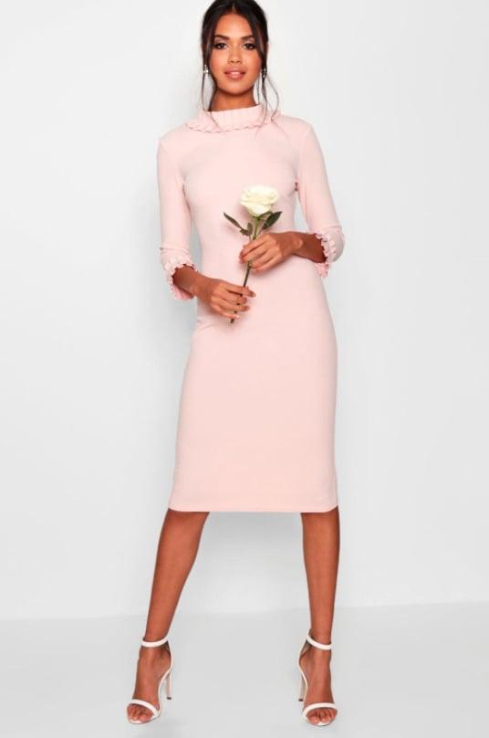 9285e13c0112 Boohoo Lizzie Pleat Detail Midi Dress | Meghan Markle's Goat Dress ...