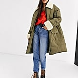 ASOS Desgin Borg Paneled Padded Coat