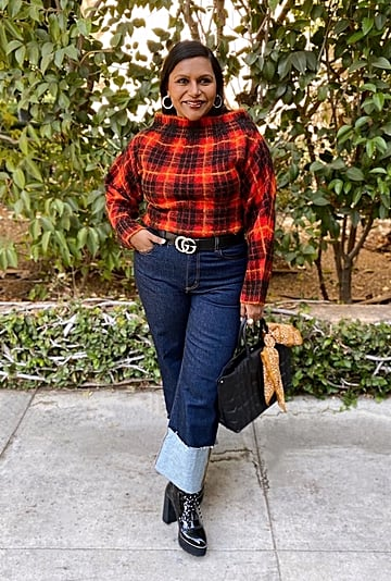 Mindy Kaling's Red Plaid Sweater and Jeans on Instagram