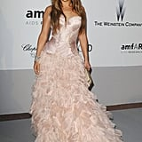 Jennifer Lopez changed gears, looking incredibly sweet in a frothy pink Roberto Cavalli number.